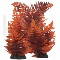 Broad Leaf Fern Red Plastic Aquarium Plant